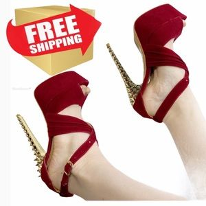 FRH Red and Gold Sexy Suede Studded Platform Heels